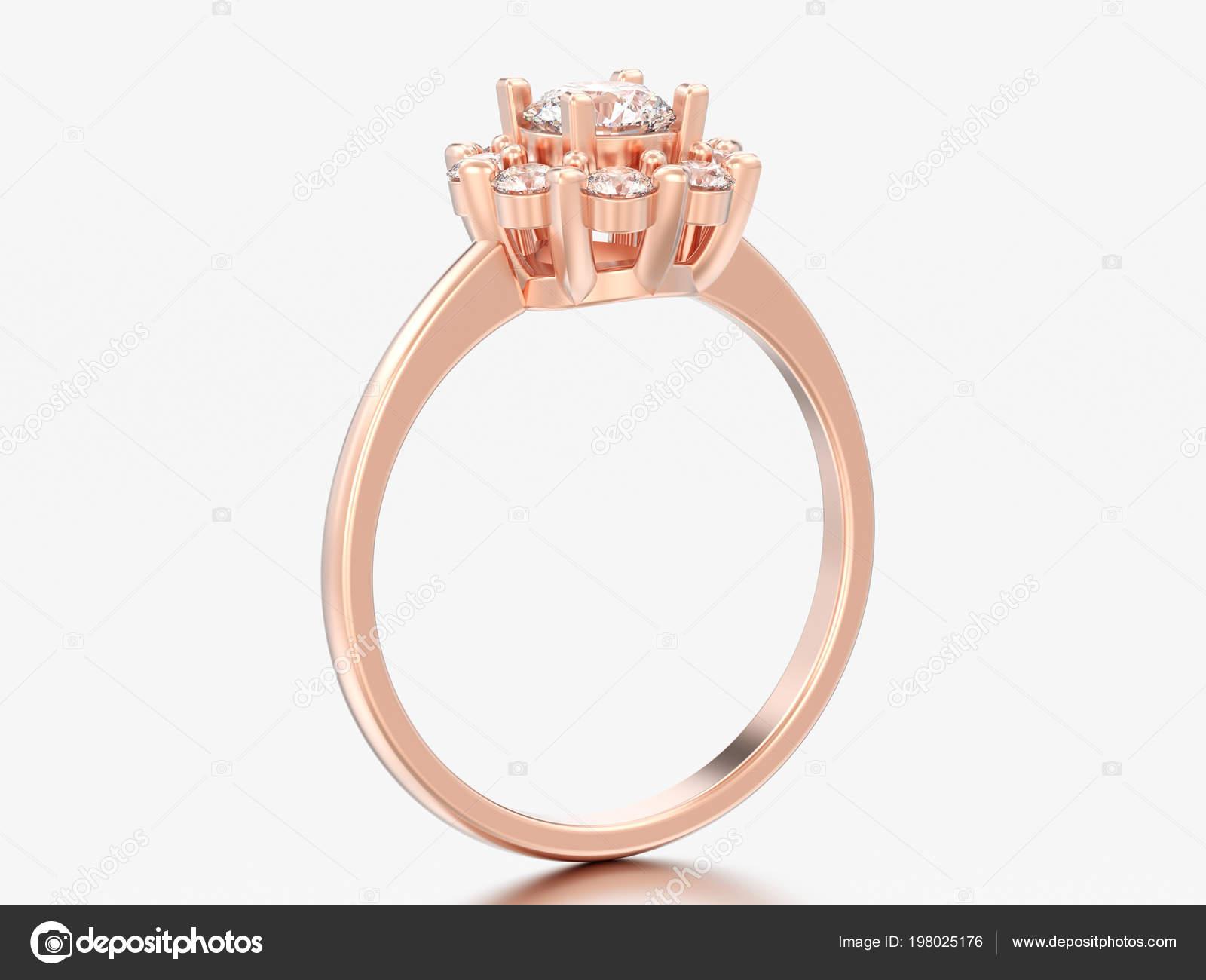 Obrazek Rose Gold Halo Svatebni Diamantovy Prsten Hroty Srdce Sedem