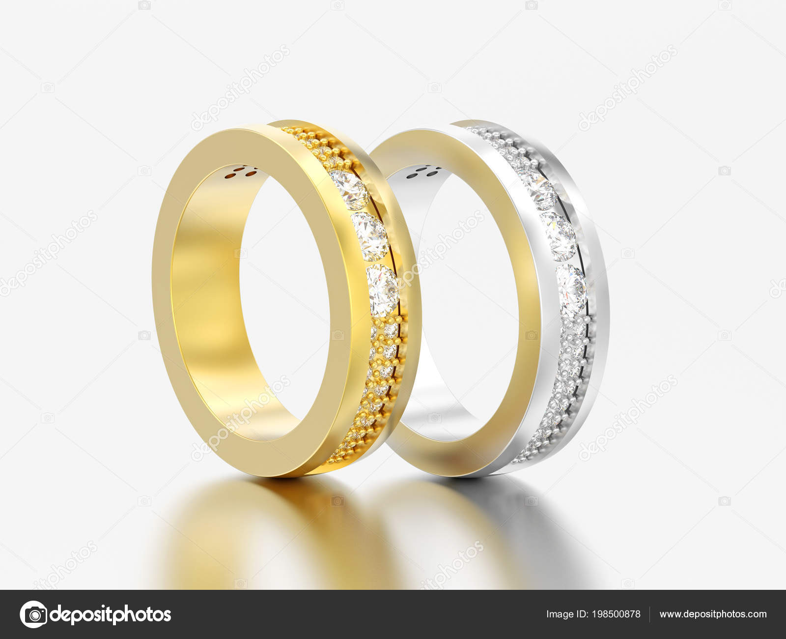 38236c5f6779 Oro de ilustración dos 3D y plata compromiso boda anillos de diamante  aniversario banda sobre un fondo gris — Foto de ...