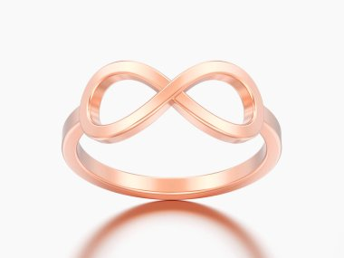 3D illustration rose gold simple infinity ring on a grey background