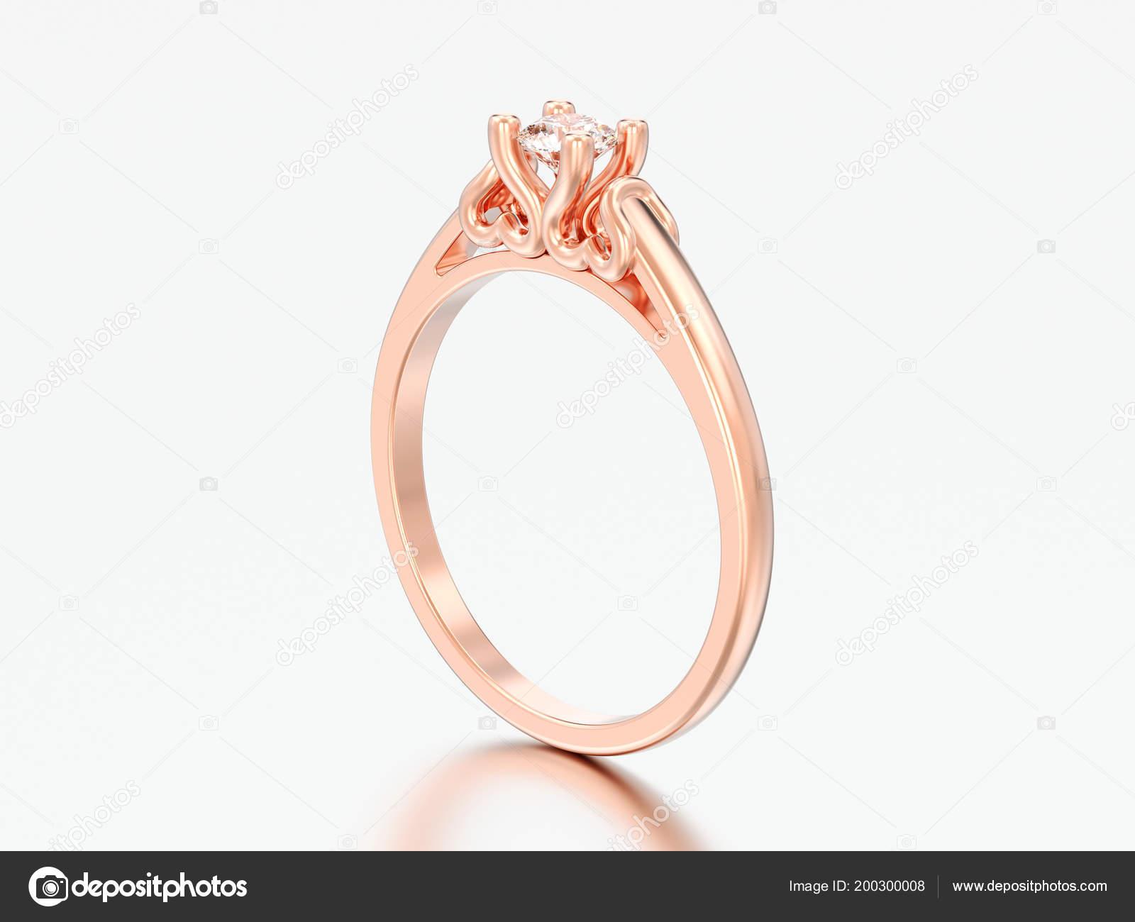 Obrazek Ruze Zlata Solitaire Snubni Prsten Diamant Hroty Srdce Sedem