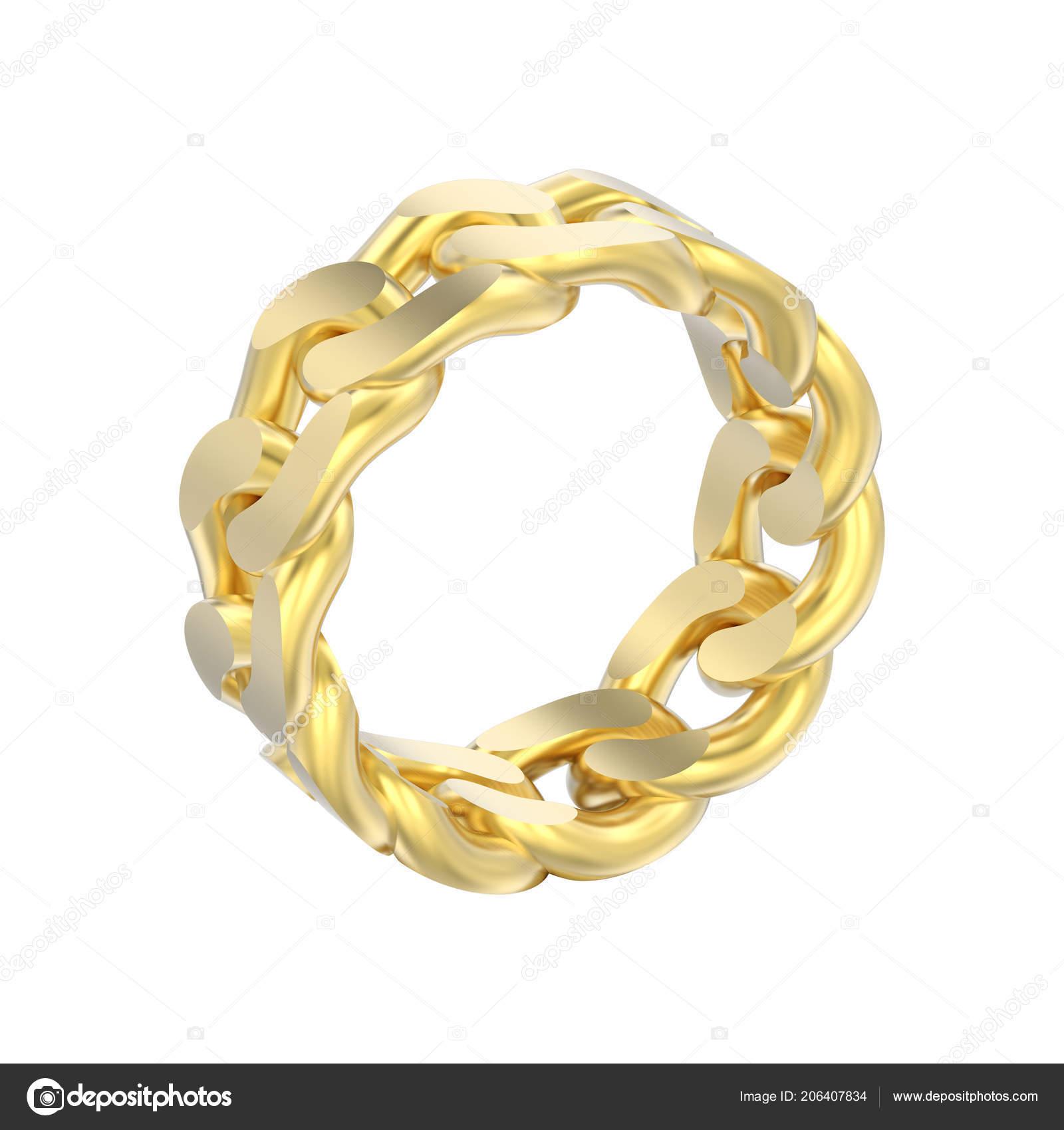 f53990a83e21 Anillo Cadena Decorativa Oro Amarillo Aislados Ilustración Sobre Fondo  Blanco– imagen de stock