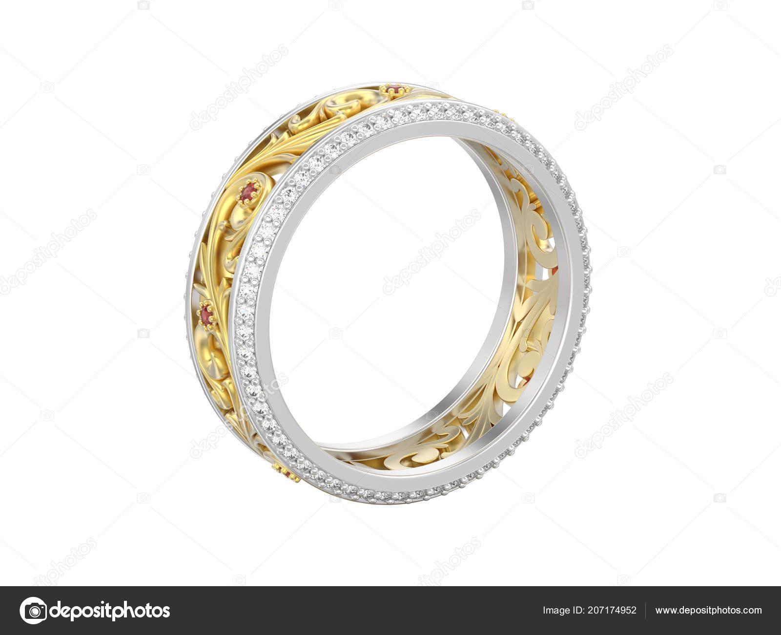 6d4fdca5d809 3D изолированных иллюстрация украшения желтого цвета с белым золотом или  серебром обручальное кольцо Обручальное кольцо с кривой, орнамент — Фото  автора ...