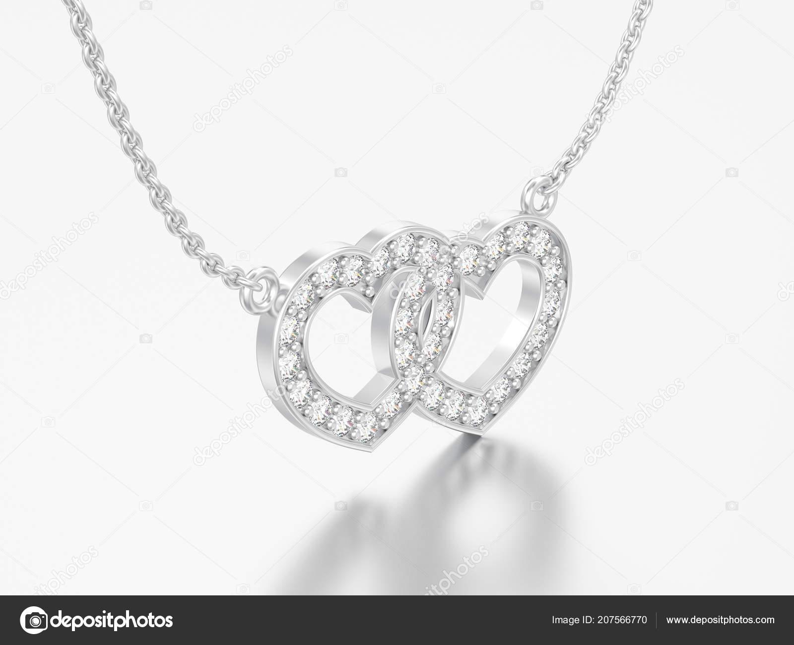 29039a3439 3D απεικόνιση κοσμήματα δύο καρδιές λευκό χρυσό ή ασήμι διαμαντένιο κολιέ  αλυσίδα σε γκρίζο φόντο– εικόνα αρχείου