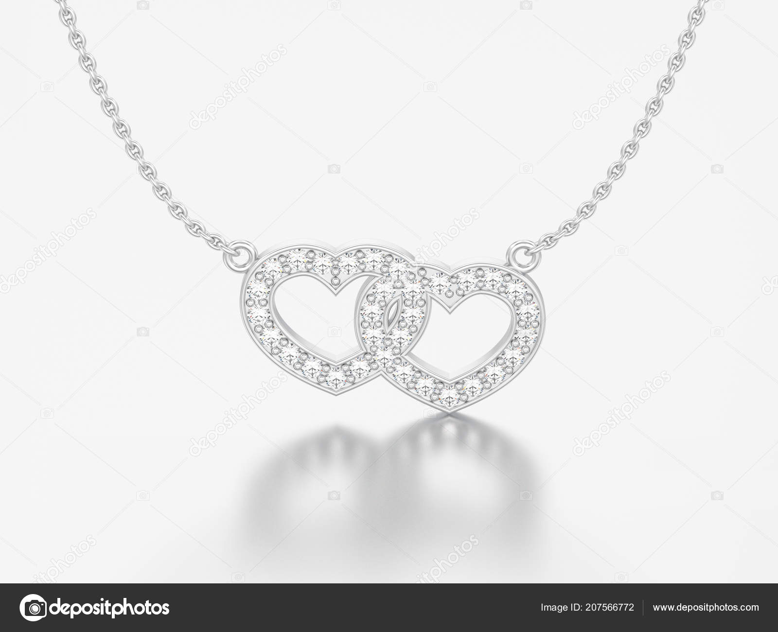 82640538db 3D απεικόνιση κοσμήματα δύο καρδιές λευκό χρυσό ή ασήμι διαμαντένιο κολιέ  αλυσίδα σε γκρίζο φόντο — Εικόνα από ...