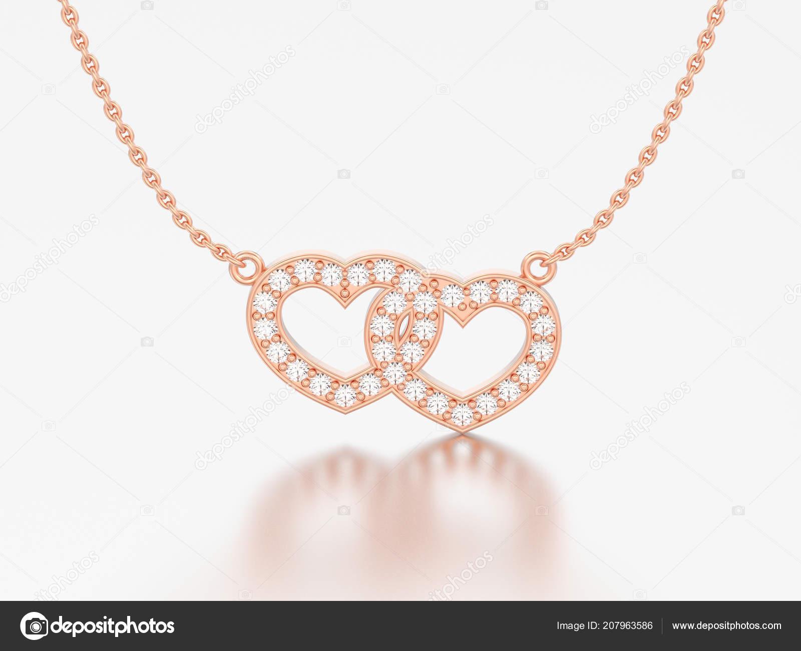 766d2d56ee 3D απεικόνιση κοσμήματα δύο καρδιές κόκκινο τριαντάφυλλο χρυσού διαμαντένιο  κολιέ αλυσίδα σε γκρι φόντο– εικόνα αρχείου