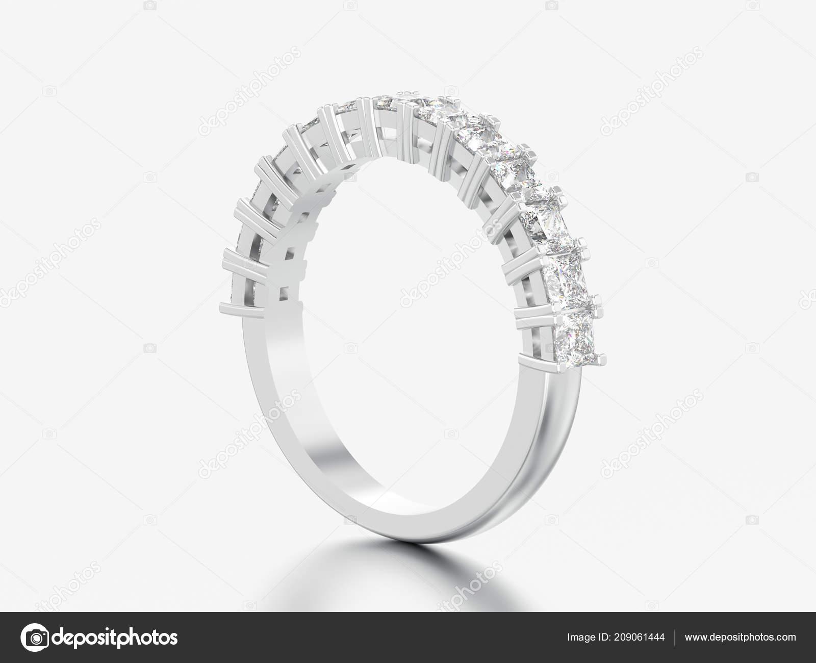 3D ilustração ouro branco ou prata eternidade banda anel de diamante sobre  um fundo cinzento — Foto de 3djewelry 68979b510b