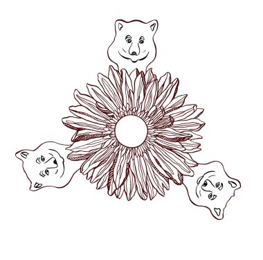 Little smile Bears and Chryzantemum flower in the middle