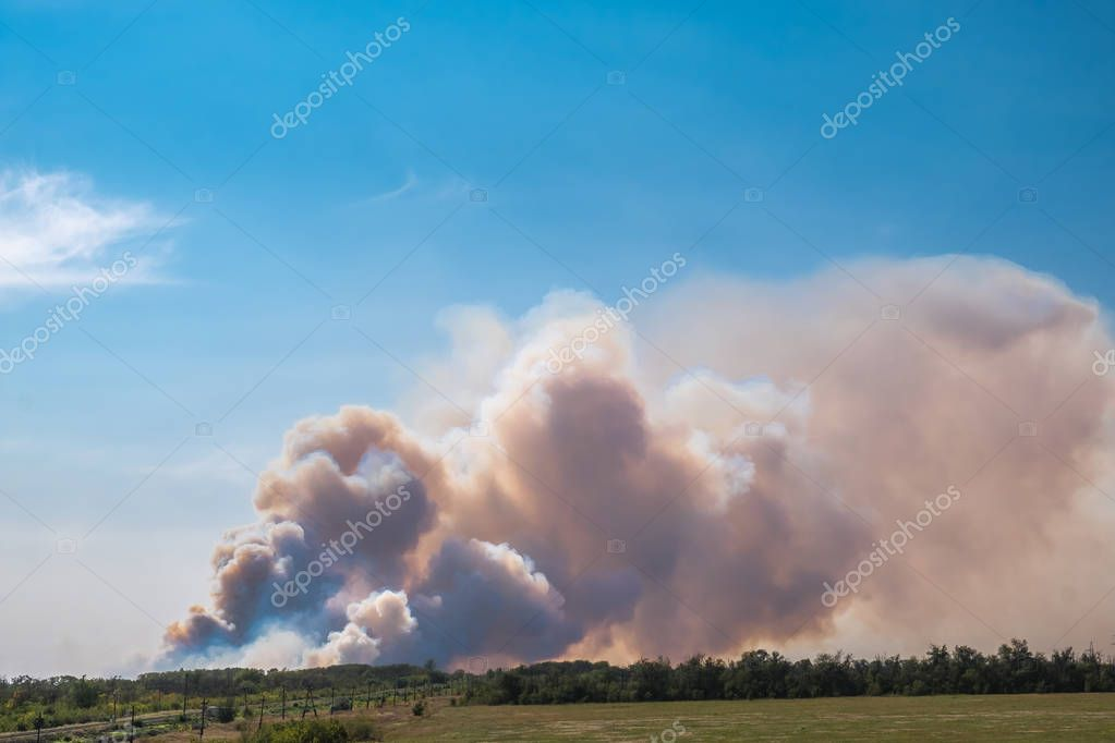 a big cloud of thick smoke rising from the ground to the clear blue sky on a summer day