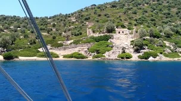 Kameriye Adasi, Turkey, View From Boat, Tourists arrive on pleasure yachts to see the sights of the island. Panorama of nature of the Aegean Sea on the island