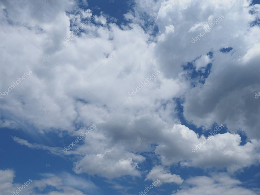 blue sky with white clouds, panorama, cyan cast