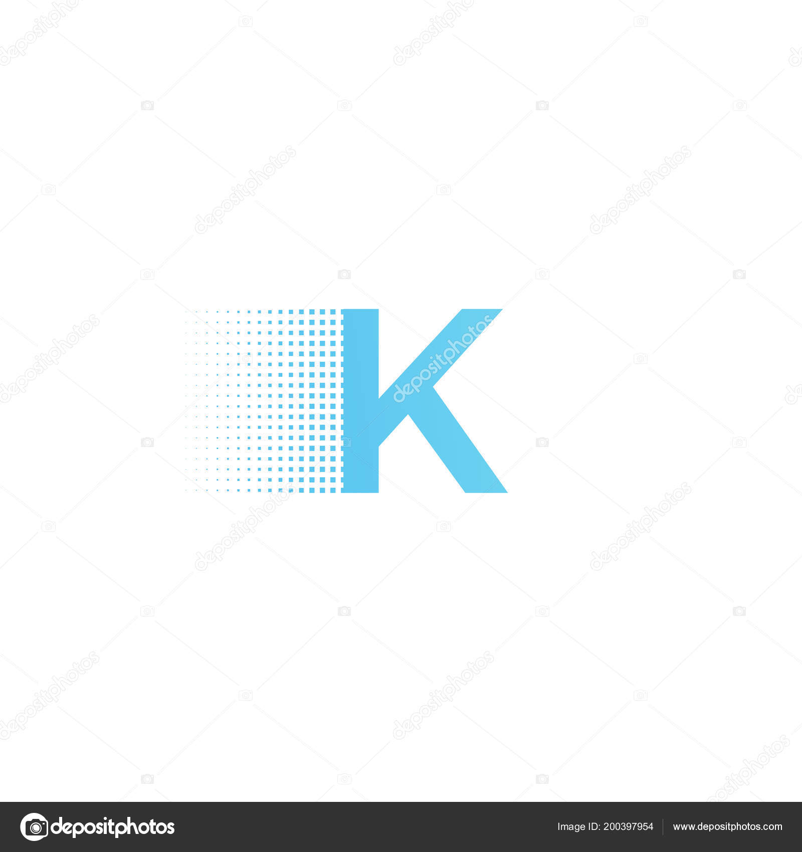 Pixel Typography Letter K Logo Technological Modern Font Calligraphy Stock Vector
