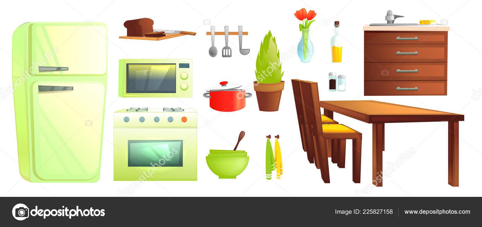 Muebles de cocina y vajilla. Platos y objetos interiores como ...