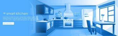 Smart kitchen design banner. Interior home IOT ads. Vector cartoon