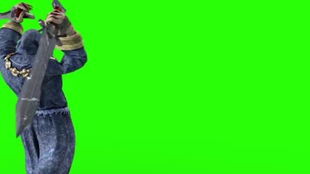 Evil Monk Attack Sword Dagger Green Screen Back 3D Renderings Animations