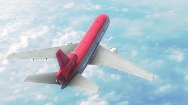 Flugzeug Flugzeug Himmel Wolken rot oben 3d Rendering Animation