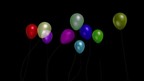 Balónky malý večírek model 3 alfa podklad 3D vykreslování animace