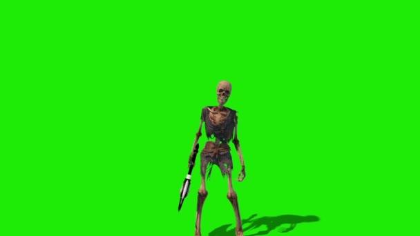 Kostra bojovnice zelená obrazovka útoky přední smyčka zavřít 3D vykreslování animace