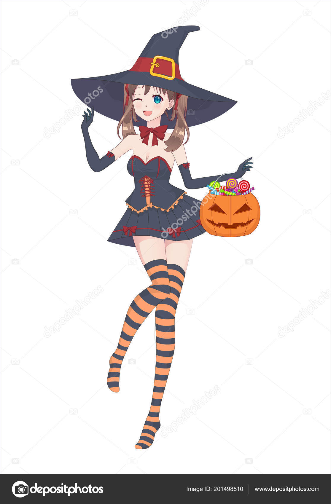 Anime manga girl in a witch costume with a big hat on her head and striped stockings holds a pumpkin bag with sweets in his hand
