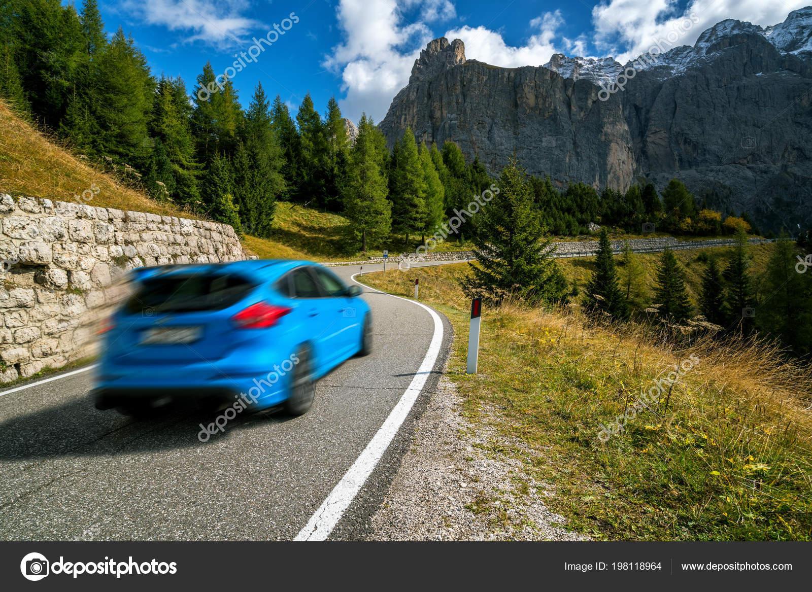 mountains backgrounds. Car Driving Beautiful Mountain Road Trees Forest Mountains Backgrounds Taken \u2014 Stock Photo