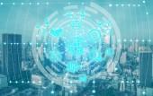 Intelligens város vezeték nélküli kommunikációs hálózat grafikus találat fogalom az internet, a dolgok (Iot) és az információs és kommunikációs technológia (IKT) ellen a modern városi épületek a háttérben.