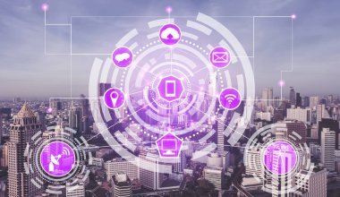 Smart city and wireless communication network concept - Internet of Things ( IOT ), Information Communication Technology ( ICT )