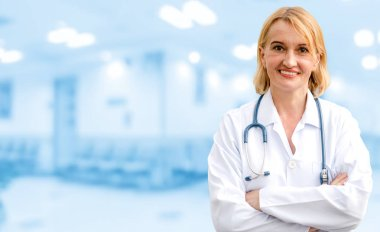 Senior woman doctor working in the hospital. Medical healthcare and doctor service.