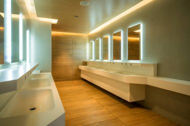 Modern design of public toilet and restroom. Luxury interior.