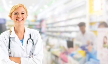 Woman pharmacist working at pharmacy. Medical healthcare and doctor staff service.