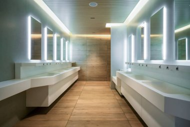 Modern design of public toilet and restroom. Luxury interior.