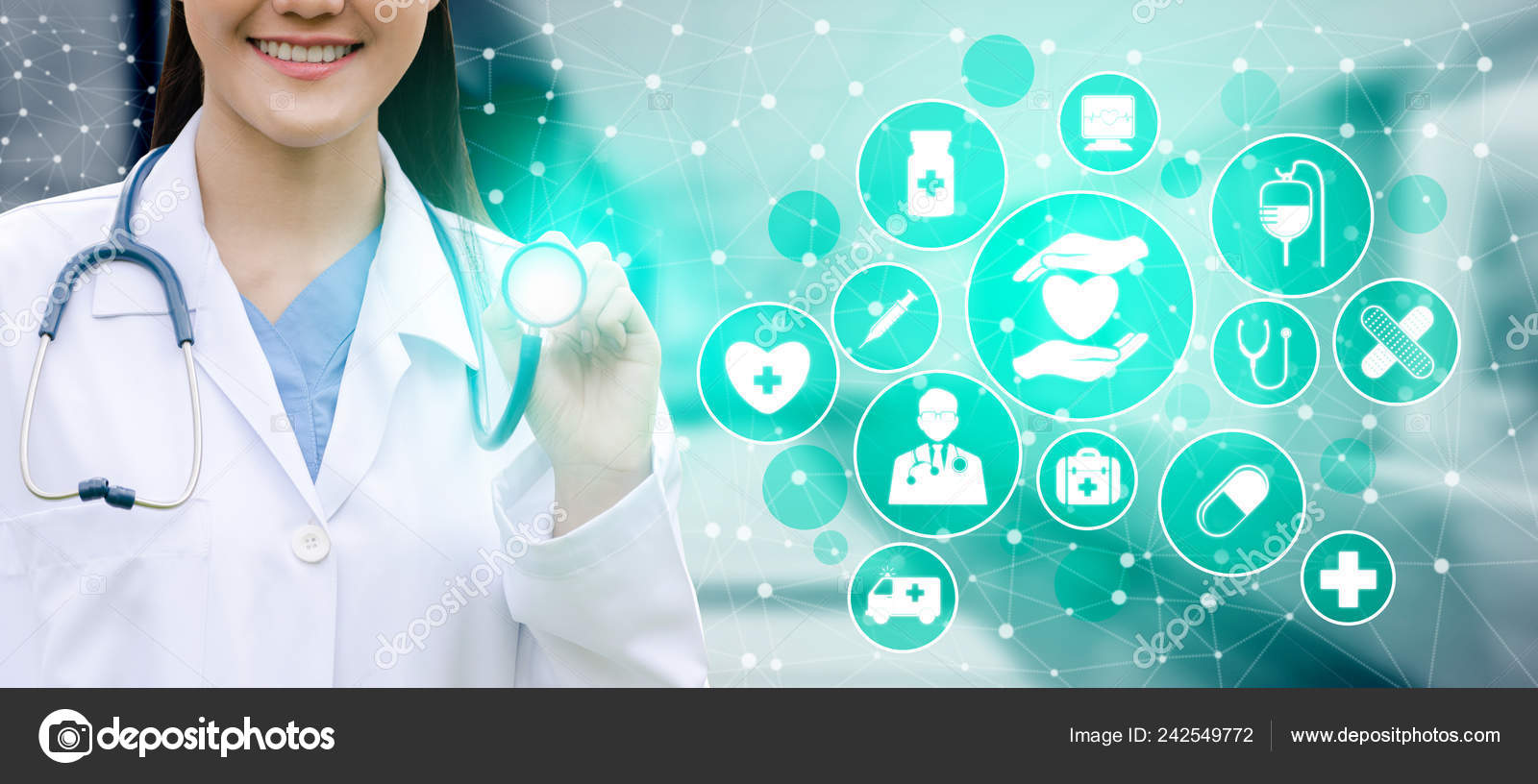 Medical Healthcare Concept Doctor Hospital Digital Medical Icons Graphic Banner Stock Photo C Biancoblue 242549772