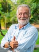 Portrét šťastný starší muž stojící v parku. Starší koncepce zdraví a důchod.