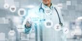 Orvosi egészségügyi koncepció - orvos a kórházban, a digitális orvosi ikonok grafikus banner találat szimbóluma, orvostudomány, orvosi ellátást az emberek, a sürgősségi betegellátási szolgálat hálózat orvos beteg egészségügyi adatait