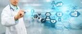 Lékařské zdravotnické koncepce - doktor v nemocnici s digitálním lékařské ikony grafický banner zobrazeno symbolem lékařství, lékařská péče lidí, nouzové služby sítě, lékař údaje o zdravotním stavu pacientů.