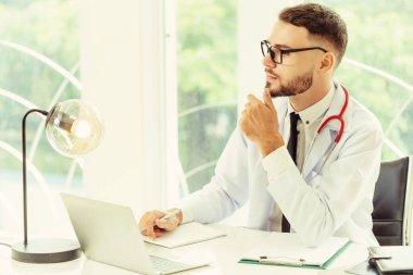 Male doctor in hospital.