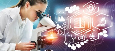 Medical Healthcare Research and Development Concept. Female doctor in hospital lab with microscope and science health research icons of medical care technology innovation, medicine discovery and healthcare data.