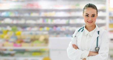 Woman pharmacist working at pharmacy.