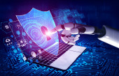 Fotografie 3D-Rendering künstliche Intelligenz KI-Forschung von Robotern und Cyborg-Entwicklung für die Zukunft der Menschen leben. Digitales Data Mining und maschinelles Lernen für Computergehirn.