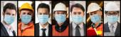 Diverse Menschen mit Gesichtsmaske geschützt vor Coronavirus oder COVID-19 Fotoserie im Bannerkonzept der Person, die 2019 Coronavirus-Krankheit bekämpft COVID-19 Pandemieausbruch.