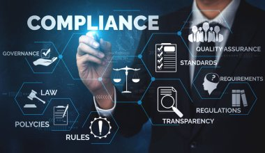 Compliance rule law and regulation graphic interface for business quality policy planning to meet international standard.