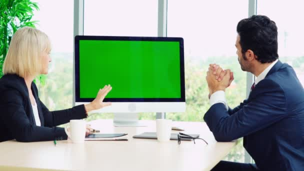 Business people in the conference room with green screen