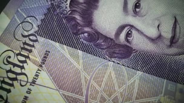 Padesát britských liber papírové bankovky v zblízka makro pohled Dolly shot.