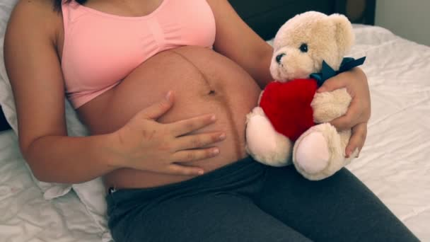 Happy pregnant woman and expecting baby at home.