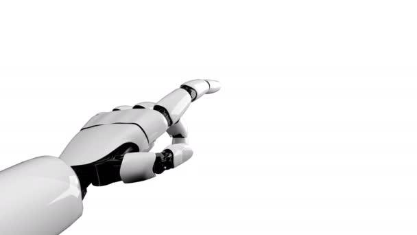 Robot ruka na bílém pozadí a zelené obrazovce generované 3D vykreslování.