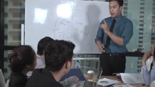 Asijští podnikatelé diskutovat o marketingové strategii.