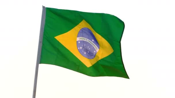 Brazil flag waving over white background.