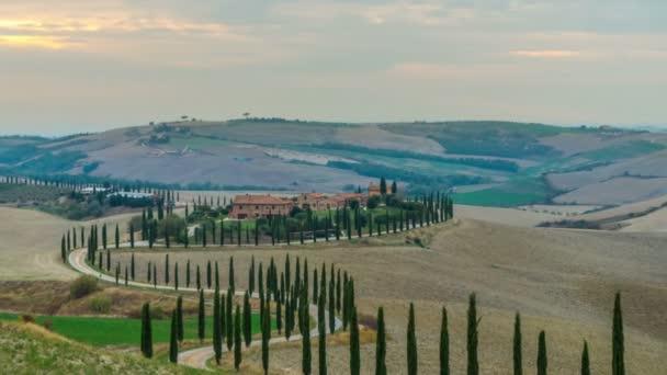 Naplemente idő lejárta Toszkána táj Olaszországban