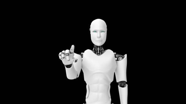 Futurisztikus robot, mesterséges intelligencia CGI munka fekete-zöld háttérrel