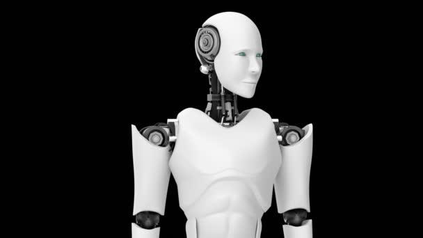 Futurisztikus robot, mesterséges intelligencia CGI fekete-zöld háttérrel