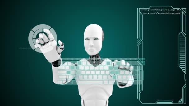 Futuristický robot, umělá inteligence CGI big data analytics and programming