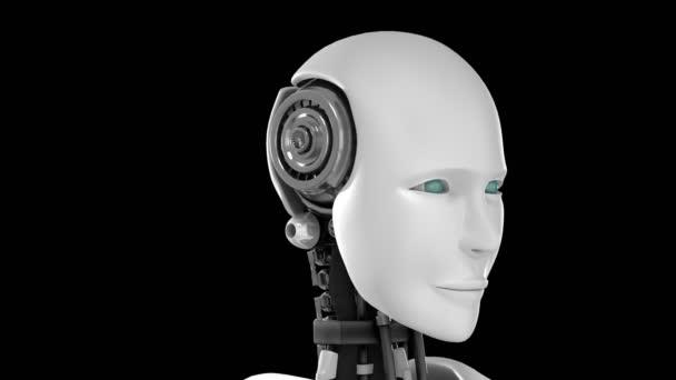 Futuristický robot, umělá inteligence CGI na černém a zeleném pozadí
